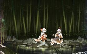 Картинка деревья, природа, озеро, светлячки, камни, девушки, арт