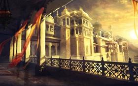 Обои окна, лампа, Персия, Пески, дворец, башни, Забытые