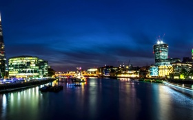 Обои река, Англия, Лондон, панорама, Великобритания, Темза, ночной город