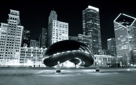 Картинка Чикаго, Chicago, Building, Black and White, Millennium Park