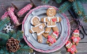 Картинка зима, ветки, еда, ель, человечки, Новый Год, печенье