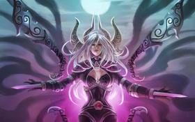 Картинка девушка, оружие, волосы, арт, league of legends, irelia, monori rogue