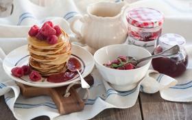Обои малина, варенье, raspberry, jam, блинчики, pancakes, Завтрак