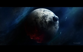Обои космос, планета, луны, звездолеты