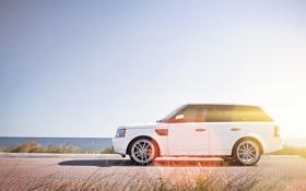 Картинка белый, брусчатка, white, Land Rover, Range Rover, блик, Sport