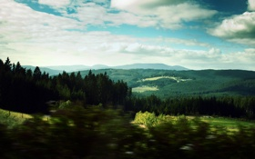 Обои landscape, лес, горизонт, пейзаж, облака, холмы, небеса