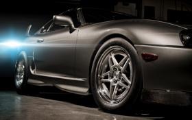 Обои свет, серый, тюнинг, вспышка, спорткар, полумрак, Toyota