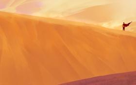Обои барханы, ветер, пустыня, человек, арт, плащ