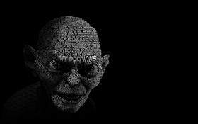 Обои лицо, надпись, Голлум, Властелин колец, The Lord of the Rings, Gollum, The Hobbit
