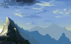Картинка облака, деревья, горы, вершины, арт, гряда