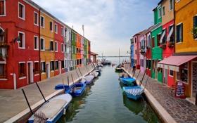 Картинка дома, Венеция, остров Бурано, Италия, канал, лодки