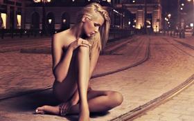 Картинка фото, девушка, обнажённая, улица, цвета, обои, обработка