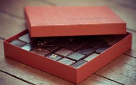 Обои коробка, подарок, конфеты, сладости