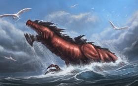 Обои море, птицы, дракон, чудовище