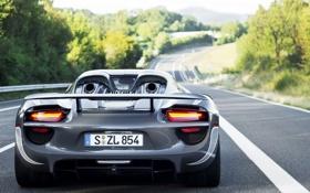 Картинка гибрид, Porsche, порше, hybrid, задок, 918, Spyder