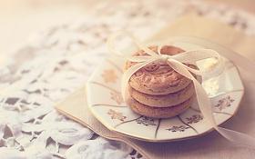 Картинка печенье, тарелка, бант, скатерть, салфетка, бисквит