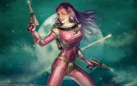 Обои девушка, космос, пистолеты, планета, лазеры