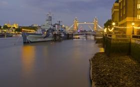 Картинка река, Лондон, Англия, ночь, мост, корабль, огни