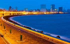 Картинка набережная, здания, India, Мумбаи, Mumbai, огни, Индия