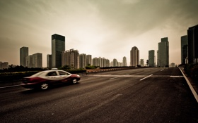 Обои дорога, такси, небоскрёбы