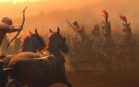Картинка оружие, кони, колесница, армия, лук, арт, фараон