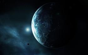 Обои планета, земля, свет