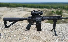 Обои штурмовая винтовка, гравий, сошка, AR-15, оружие