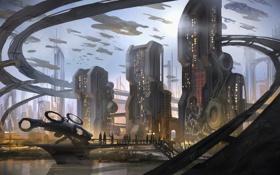 Картинка город, будущее, фантастика, небоскребы, spaceships