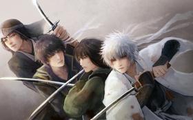 Картинка Gintama, самураи, Tatsuma Sakamoto, Katsura Kotaro, Takasugi Shinsuke, красные глаза, кровь