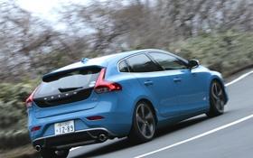 Обои car, Volvo, blue, wallpapers, V40, R-Design