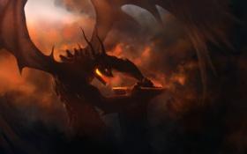 Картинка облака, скала, пламя, человек, противостояние, Дракон