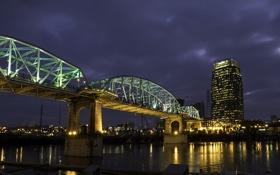 Обои ночь, мост, огни, река, дома, фонари, США
