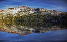 Картинка лес, небо, вода, отражение, гора