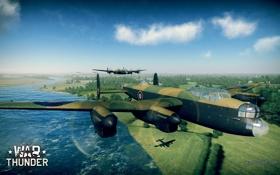 Обои деревья, река, земля, тень, самолёты, WW2, британские