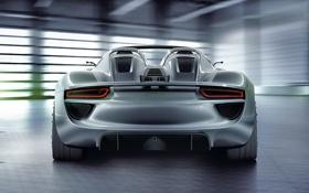 Картинка машина, Concept, фон, Porsche, вид сзади, Spyder, 918