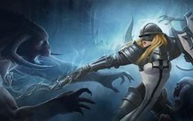 Картинка Crusader, Diablo III, щит, девушка, нежить, шлем, Reaper of Souls