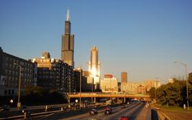 Картинка небо, здания, небоскребы, панорама, USA, америка, чикаго
