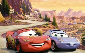 Картинка Piston Cup championship, Sally Carrera, Radiator Springs, U.S. Route 66, Owen Wilson, McQueen, мультфильм
