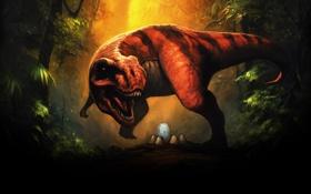 Картинка лес, яйца, динозавр, пасть, рык, T-Rex, Тиранозавр