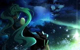 Обои небо, звезда, Девушка, облако, длинные волосы, вокалоид