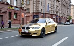 Обои машины, золото, красавицы, bmw m5, смотра
