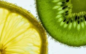 Обои вода, пузырьки, лимон, еда, киви, долька, воздух