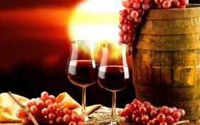 Картинка закат, красный, фон, вино, бокалы, виноград, бочка