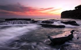 Обои море, пейзаж, закат, скалы