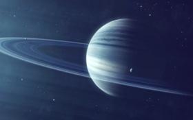Обои газовый гигант, звезды, кольца, спутники