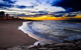 Обои песок, море, вода, камни, города, океан, берег