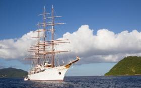 Картинка море, небо, вода, облака, природа, корабль, парусник
