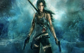 Картинка взгляд, девушка, кровь, лук, арт, Tomb Raider, Lara Croft