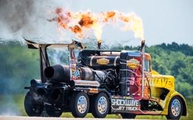 Обои огонь, тягач, Peterbilt, турбины, грузовик