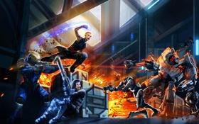 Обои взрыв, оружие, огонь, арт, битва, mass effect, shepard
